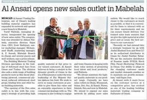 Mabelah Sales Outlet Opening Article in Times Of Oman_DEC_2016