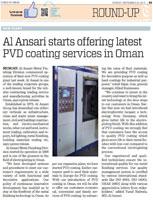 Al Ansari starts offering latest PVD coating services in Oman_NOV_2015